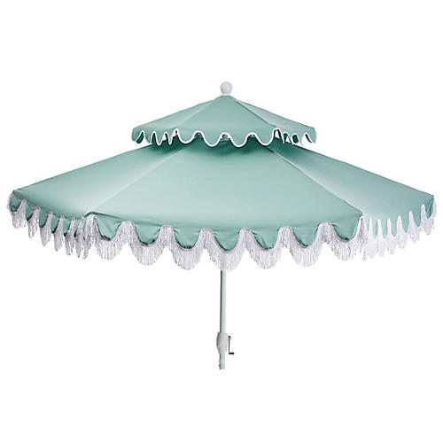 Daiana Two-Tier Fringe Patio Umbrella, Mint
