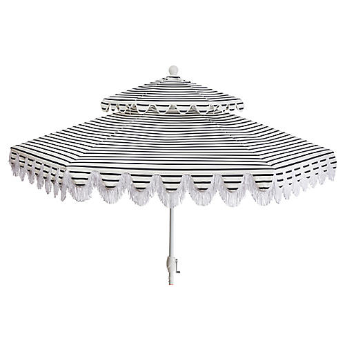 Daiana Two-Tier Patio Umbrella, Indigo Stripe