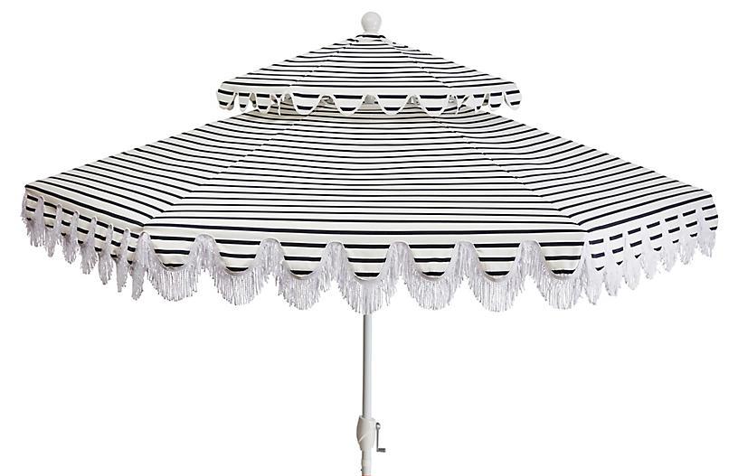 Daiana Two-Tier Patio Umbrella, Indigo Stripe