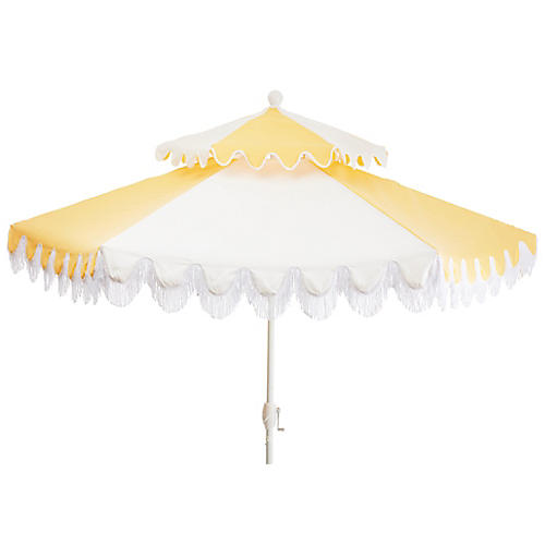 Ginny Two-Tier Fringe Patio Umbrella, Yellow/White