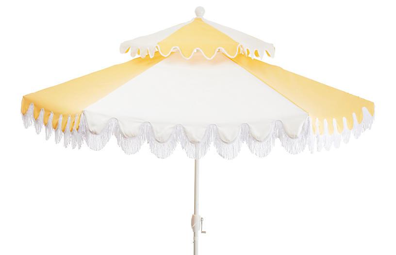 Ginny Two-Tier Fringe Patio Umbrella, Yellow/White
