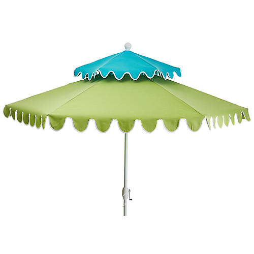 Anna Two-Tier Patio Umbrella, Aqua/Green