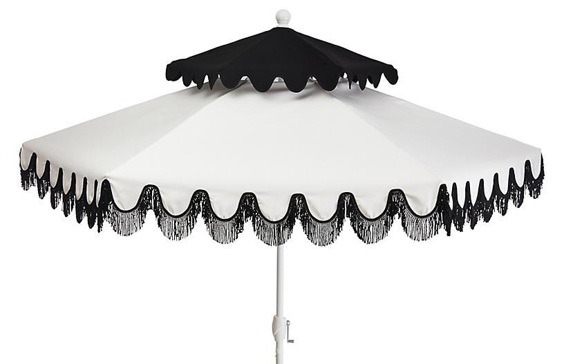 Anna Two-Tier Patio Umbrella, Black/White