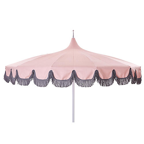 Aya Pagoda Fringe Patio Umbrella, Pink/Gray