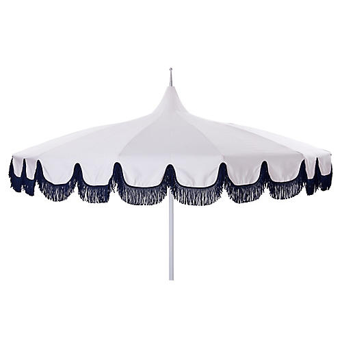 Aya Pagoda Fringe Patio Umbrella, White/Navy