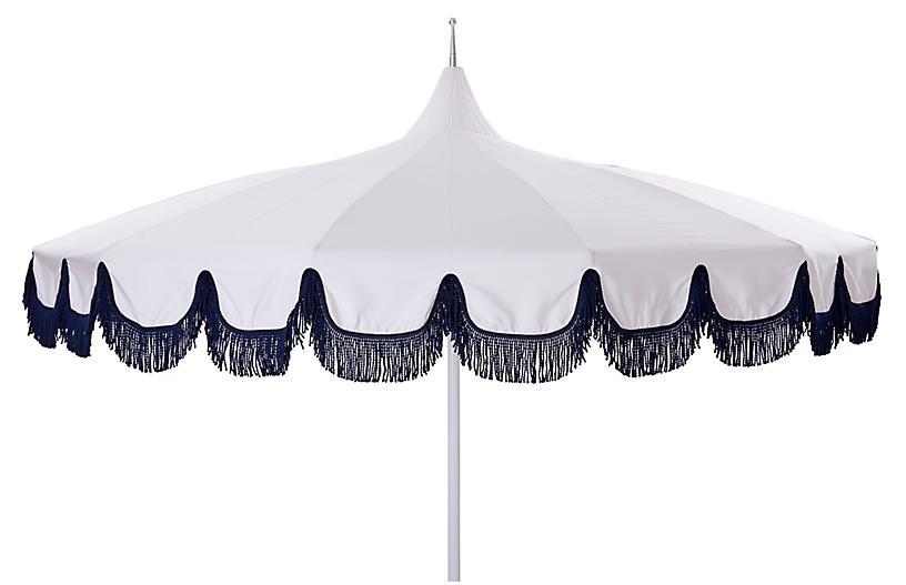 Aya Pagoda Fringe Patio Umbrella, White/Navy