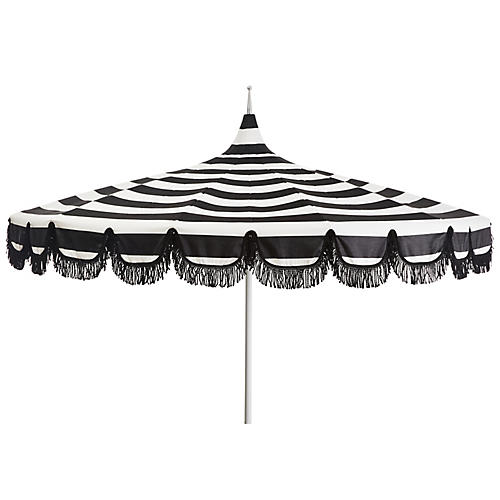 Aya Pagoda Patio Umbrella, White/Black Stripe