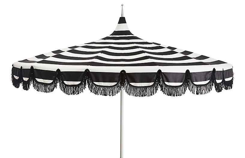Aya Pagoda Patio Umbrella, White/Black Stripe