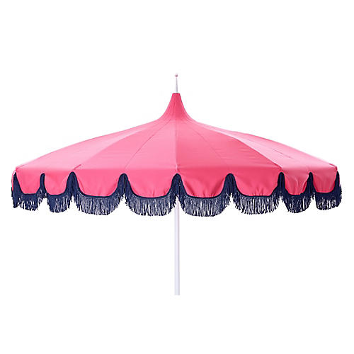 Aya Pagoda Fringe Patio Umbrella, Pink/Navy