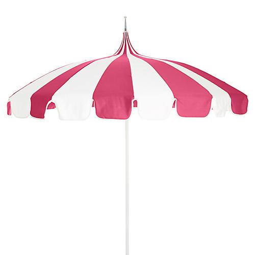 Aya Pagoda Patio Umbrella, Hot Pink/White