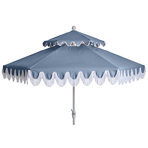 Daiana Two-Tier Fringe Patio Umbrella, Ocean Blue