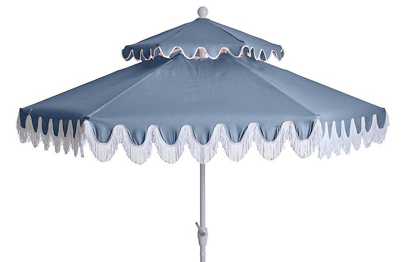 Daiana Two-Tier Fringe Patio Umbrella, Ocean Blue