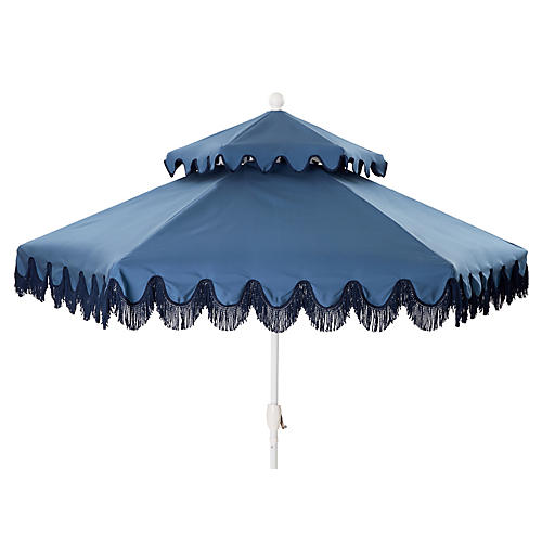 Daiana Two-Tier Fringe Patio Umbrella, Blue/Navy