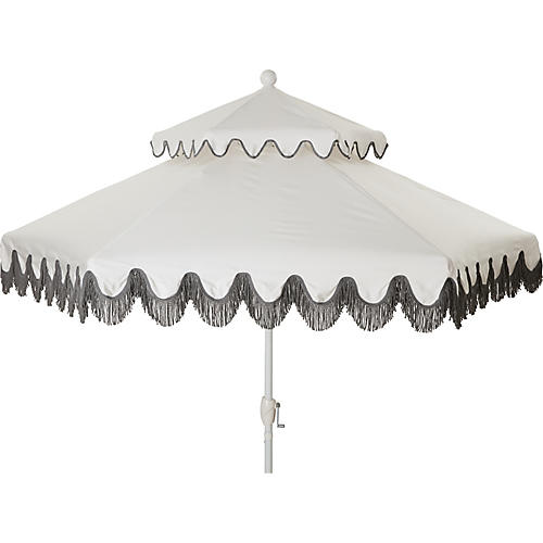 Daiana Two-Tier Fringe Patio Umbrella, White/Gray