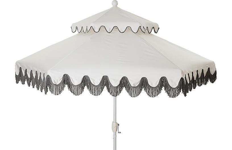 Daiana Two-Tier Fringe Patio Umbrella, White/Gray