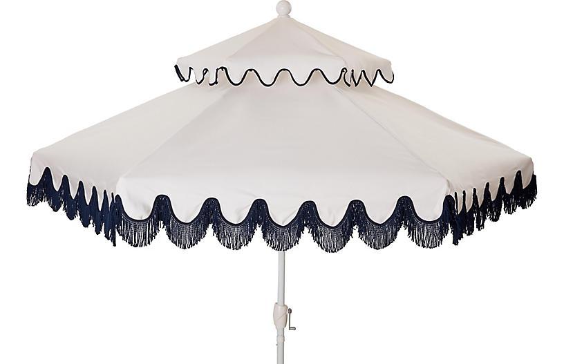Daiana Two-Tier Fringe Patio Umbrella, White/Navy