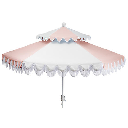 Ginny Two-Tier Patio Umbrella, Light Pink/White
