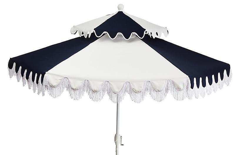 Ginny Two-Tier Patio Umbrella, Navy/White