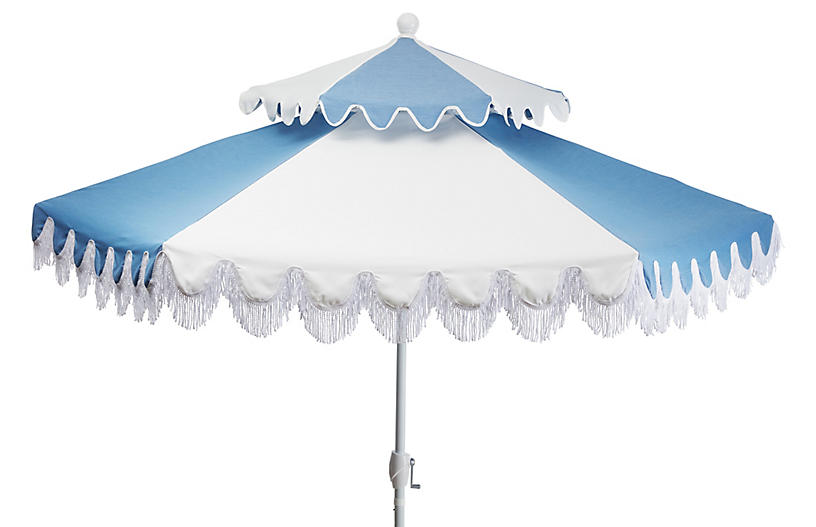 Ginny Two-Tier Patio Umbrella, Ocean Blue/White