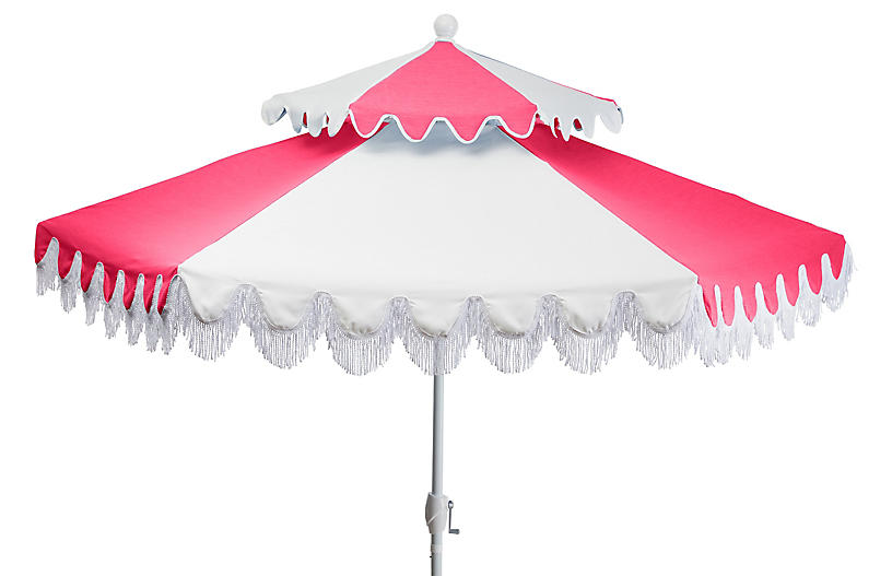 Ginny Two-Tier Patio Umbrella, Hot Pink/White