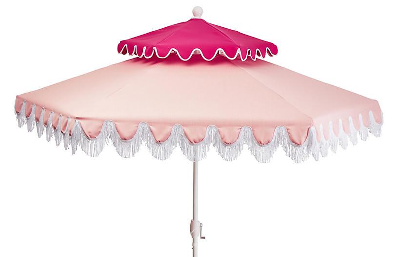 Anna Two-Tier Patio Umbrella, Light Pink/Hot Pink