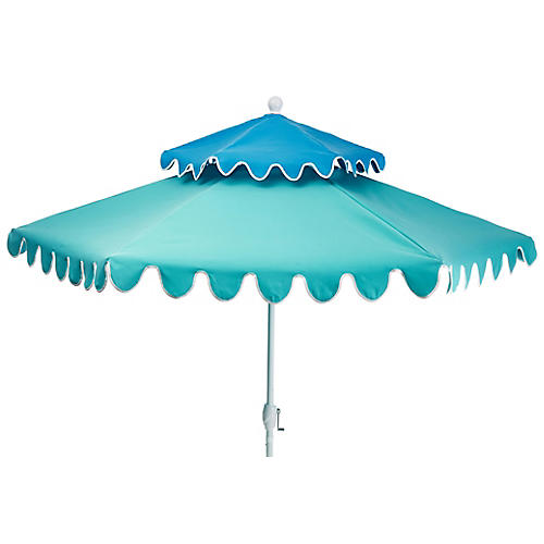 Anna Two-Tier Patio Umbrella, Sky Blue/Aqua