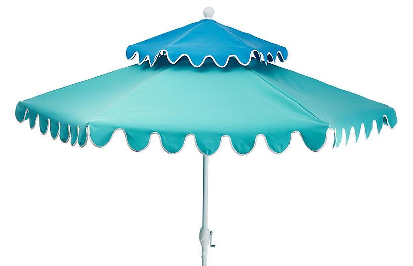 Anna Two-Tier Patio Umbrella, Sky Blue/Aqua