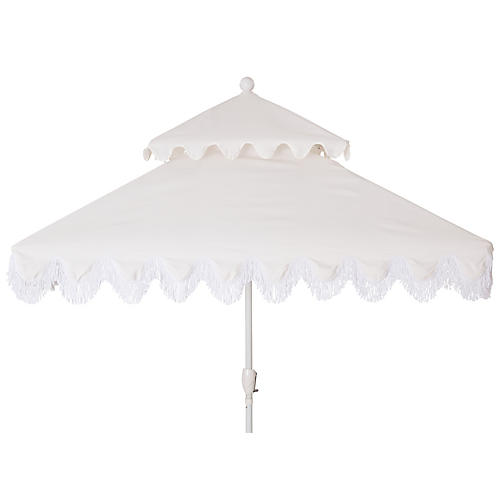 Hannah Two-Tier Square Patio Umbrella, White