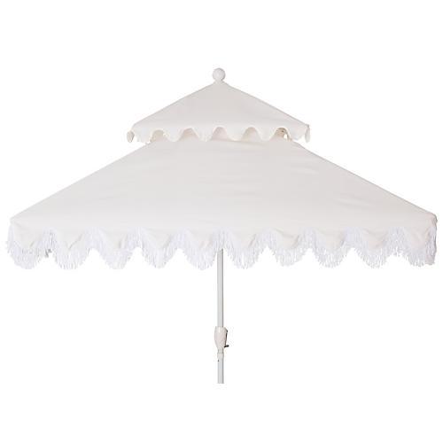 Hannah Two-Tier Square Patio Umbrella, White