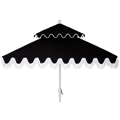 Hannah Two-Tier Square Patio Umbrella, Black/White