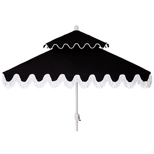 Hannah Two-Tier Square Patio Umbrella, Black/White