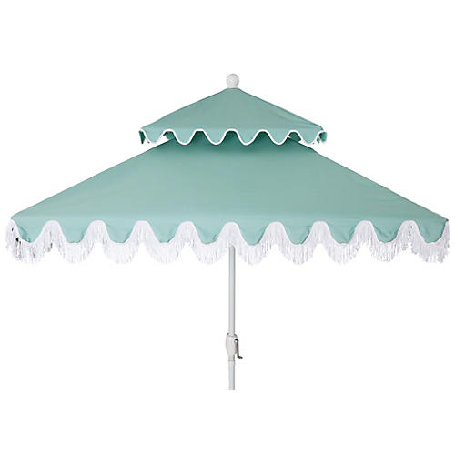 Hannah Two-Tier Square Patio Umbrella, Mint/White