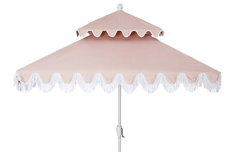 Hannah Two-Tier Square Patio Umbrella, Light Pink