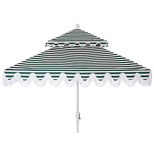 Hannah Two-Tier Square Patio Umbrella, Green/White
