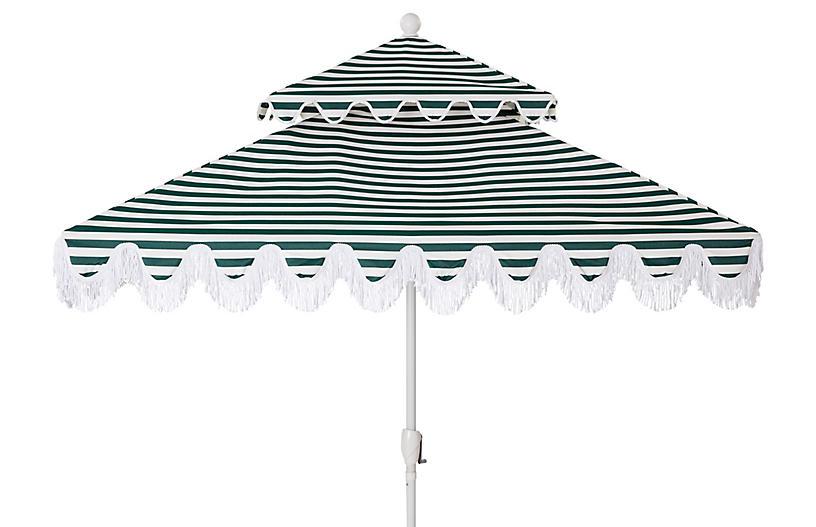 Hannah Two-Tier Square Patio Umbrella, Green/White
