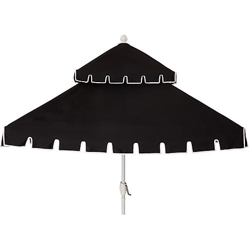 Liz Two-Tier Square Patio Umbrella, Black