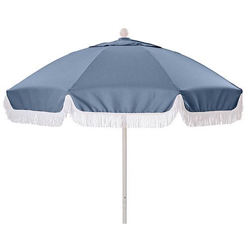 Elle Round Patio Umbrella, Ocean/White