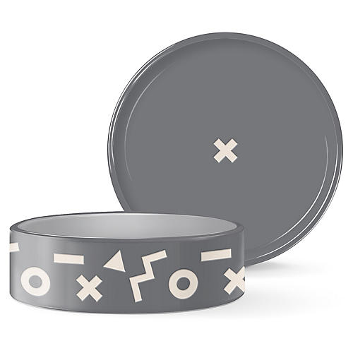 XO Pet Bowl, Dark Gray/White