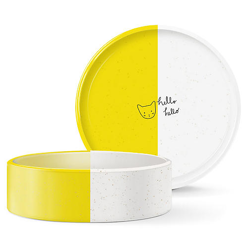 Hello Pet Bowl, Yellow/White