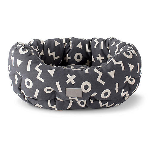 XO Cuddler Pet Bed, Dark Gray/White