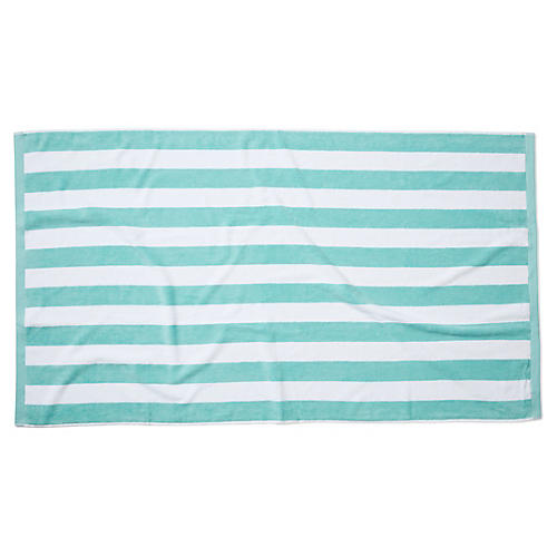 Cabana Stripe Beach Towel, Aqua