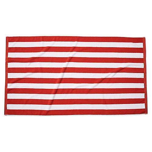 Classic Cabana Stripe Beach Towel, Cherry
