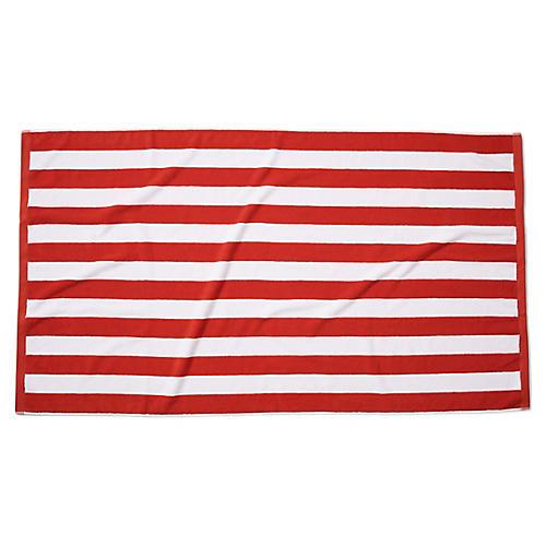 Classic Cabana Stripe Beach Towel, Cherry