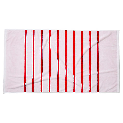 Breton Stripe Beach Towel, Cherry
