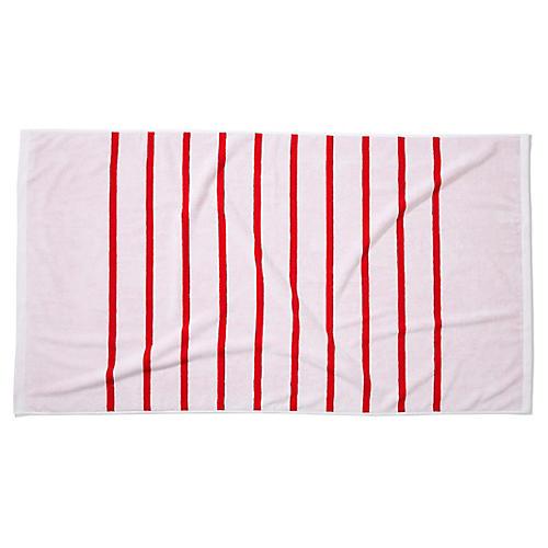 Breton Stripe Beach Towel, Cherry