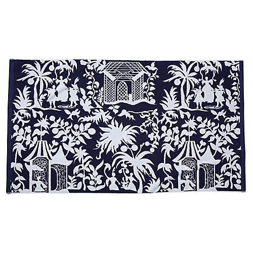 Chinoiserie Beach Towel, Navy