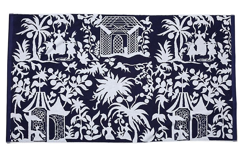 Chinoiserie Beach Towel Navy Poolside Style Outdoor Essentials