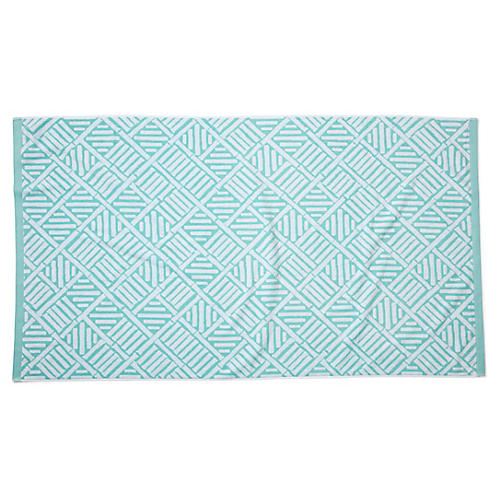 Bamboo Lattice Beach Towel, Aqua