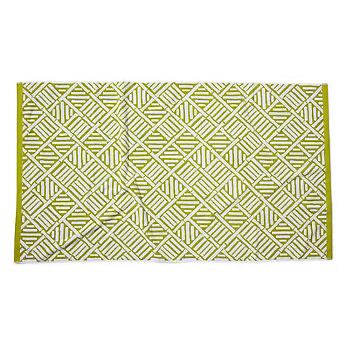Bamboo Lattice Beach Towel, Chartreuse