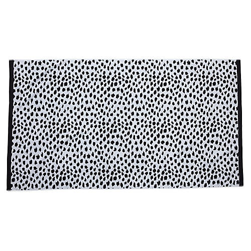 Leopard-Spot Beach Towel, Black